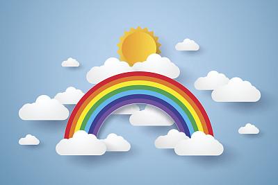 彩虹云天空