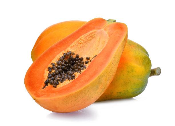 木瓜水果白色背景