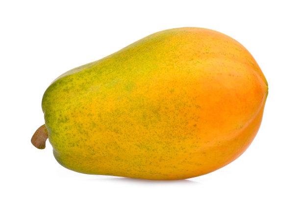 木瓜白色背景熟的