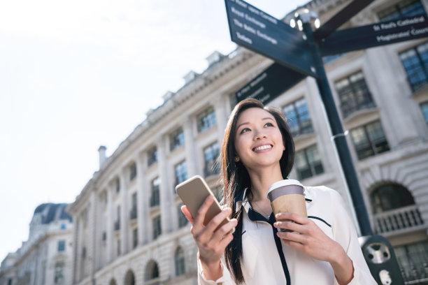 手机街道女商人