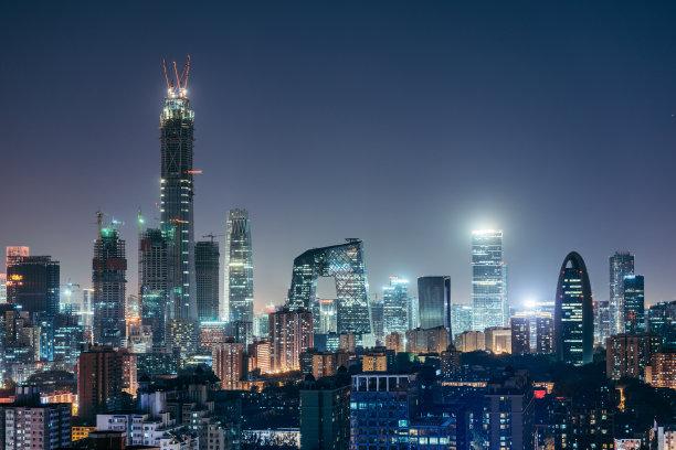 北京夜晚航拍视角