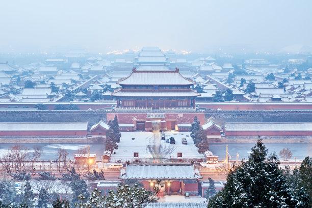 航拍视角北京故宫