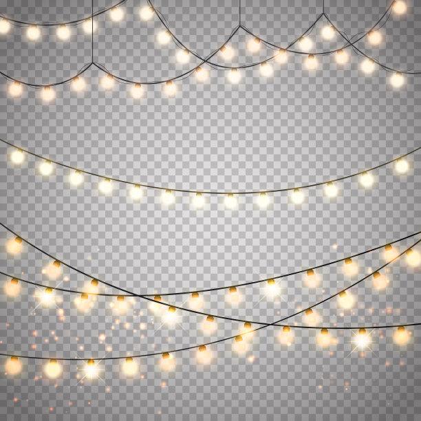 矢量圣诞小彩灯透明