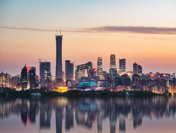 北京黄昏高视角