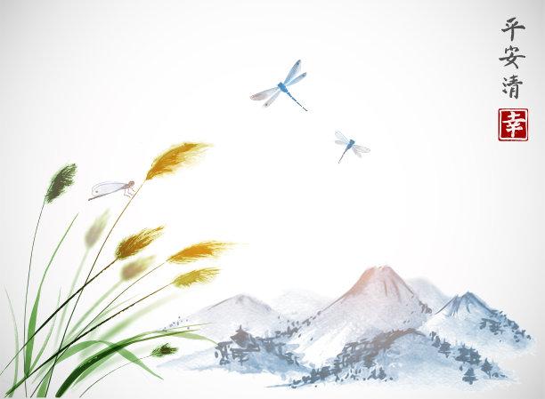 水墨画传统蜻蜓