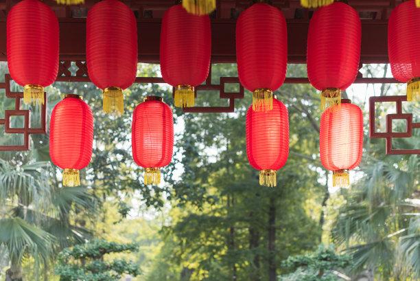 悬挂中国灯笼