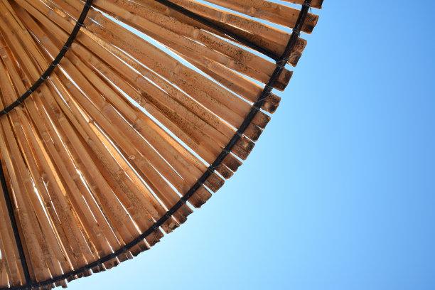 海滩,遮阳伞,竹子