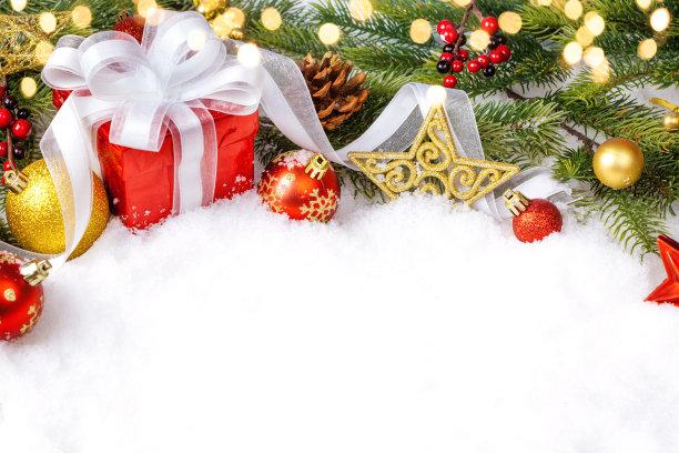 圣诞节礼物背景留白