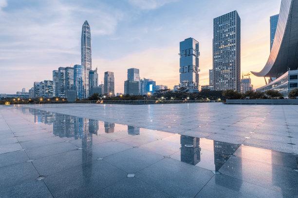 深圳城市天际线曙暮光