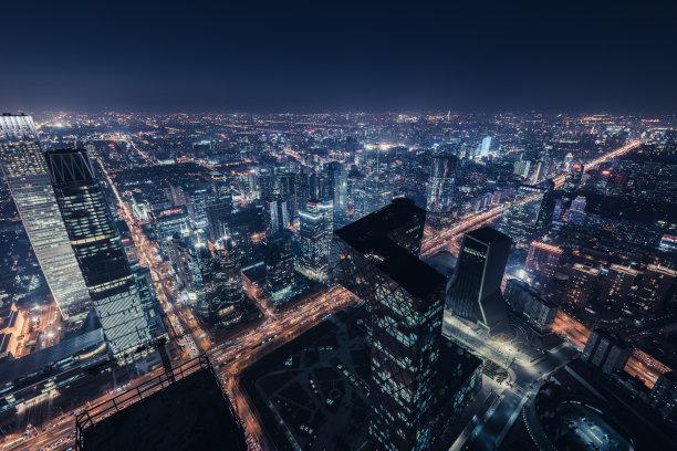 航拍视角夜晚北京