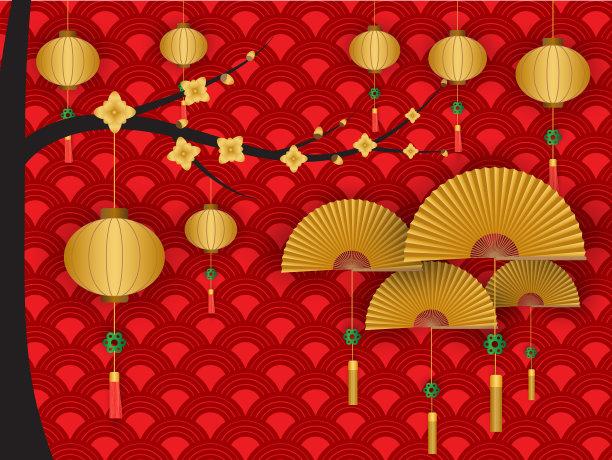 春节背景百合花