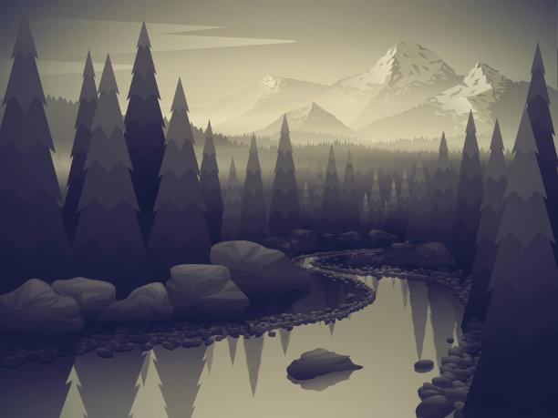 河流地形森林