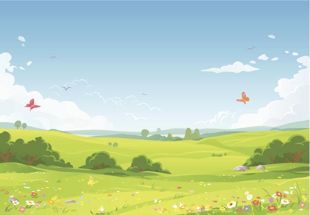 夏天地形卡通