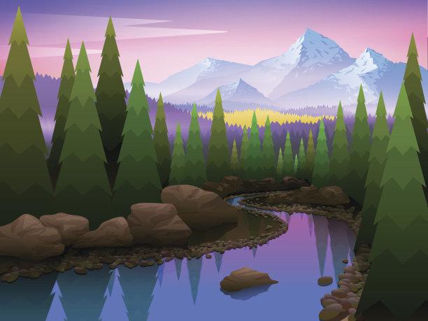 自然美树地形