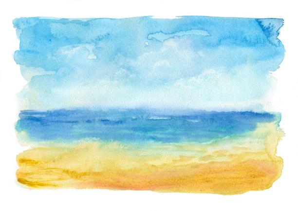 水彩画颜料海滩海洋