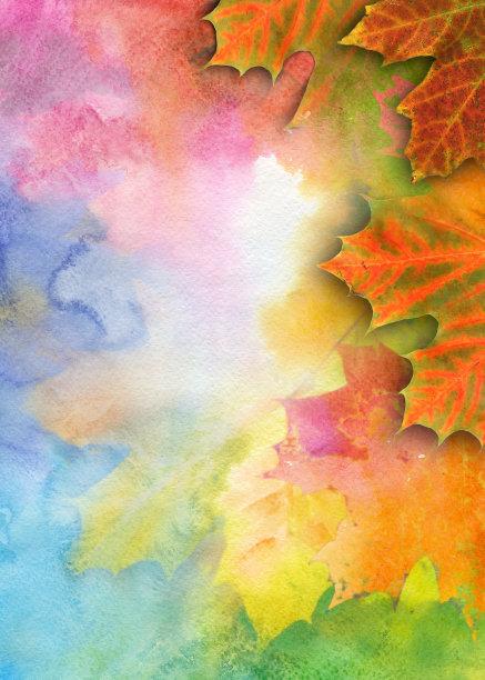秋天背景水彩画