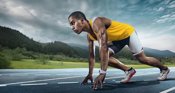 运动奔跑起步准备