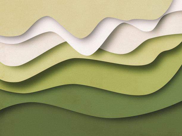 绿色立体波浪纹背景