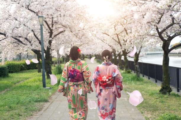 穿日本和服的女人背影