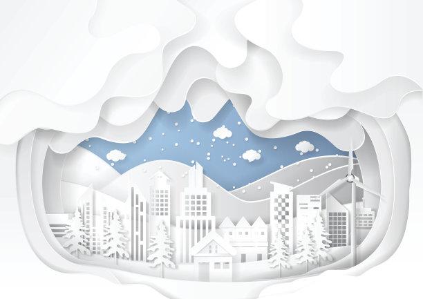 雪都市风景图片