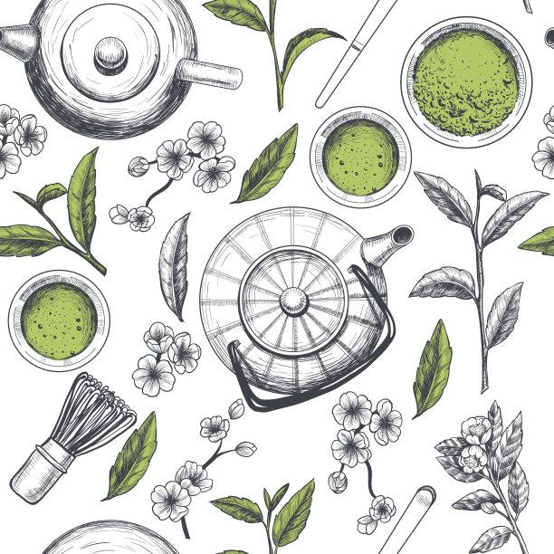 四方连续纹样绿茶矢量
