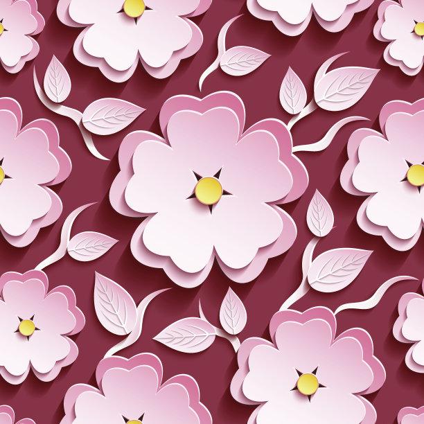 叶子四方连续纹样粉色