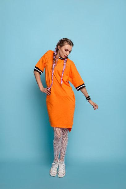 时装模特连衣裙高雅