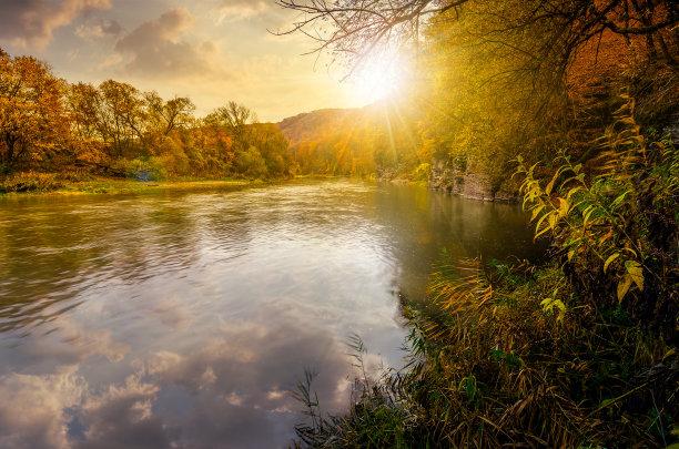 山,河流,秋天