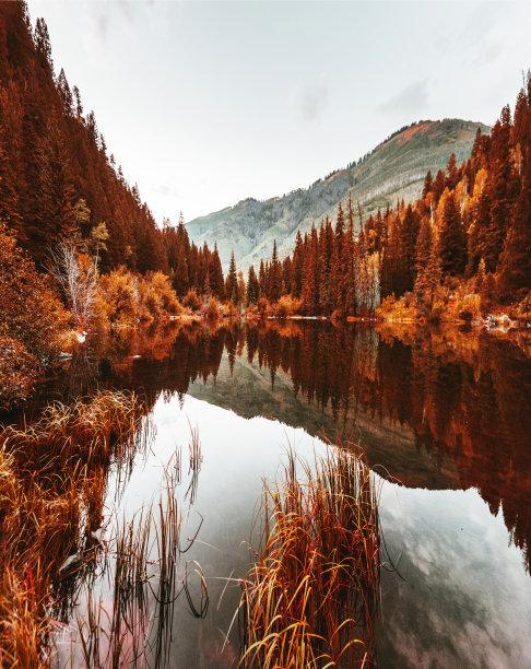 湖秋天科罗拉多州