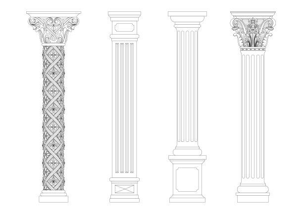 古典风格自然立柱白灰泥