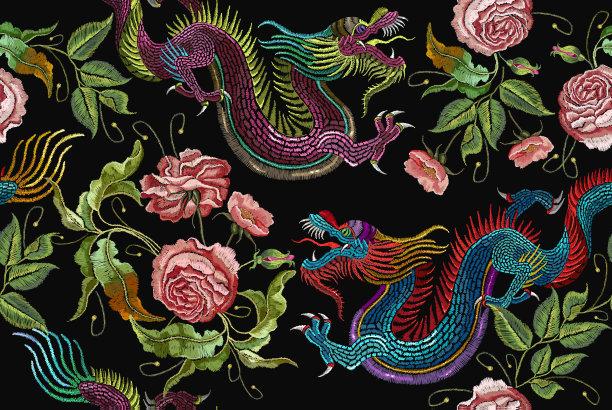 中国龙艺术四方连续纹样