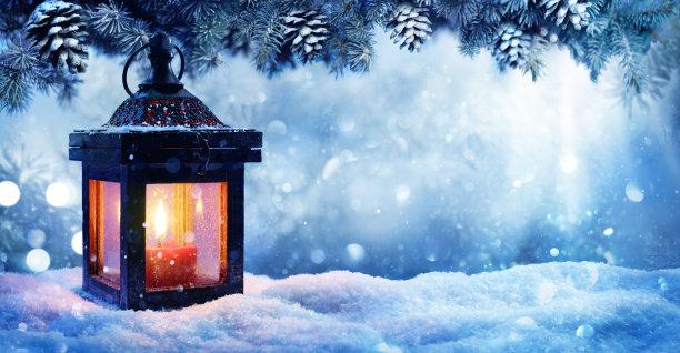 烛光灯雪景背景