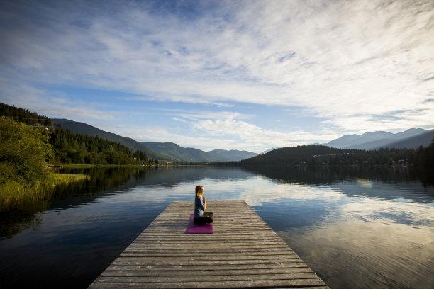 湖,瑜伽,青年女人