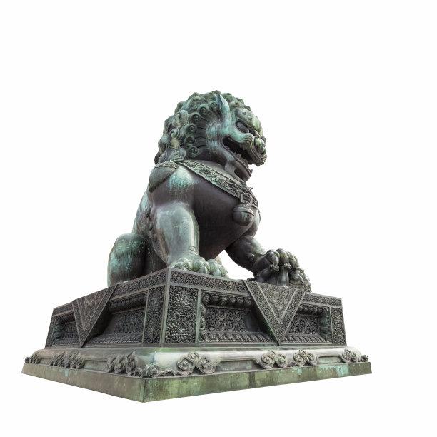 青铜狮子雕像