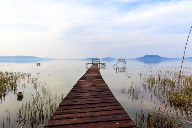 码头,宁静,木制