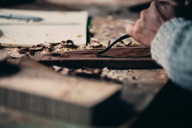 木制木工特写