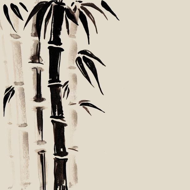 竹绘画插图日本