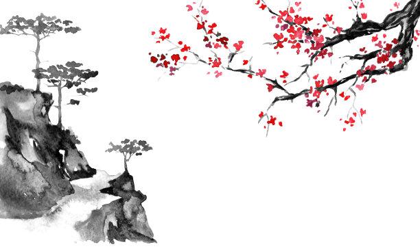 传统墨水山