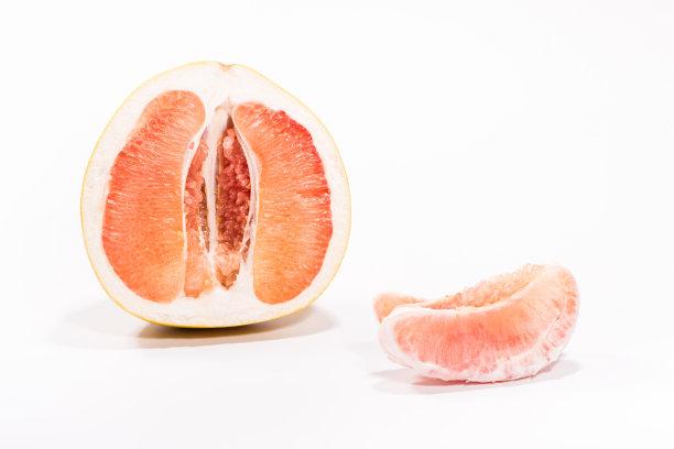 浆柚子白色背景