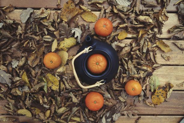 落叶上的茶壶