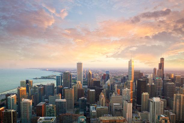 芝加哥市天空水平画幅
