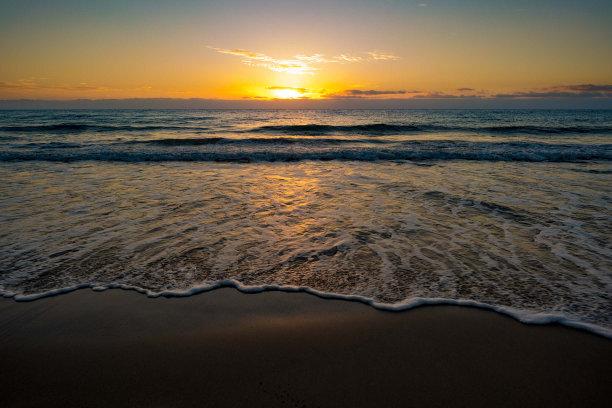 沙子,海滩,黎明