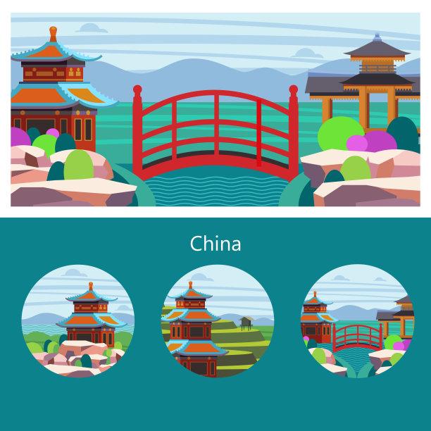 中国绘画插图矢量
