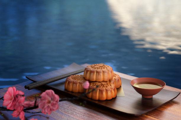 月饼三维图形中秋节