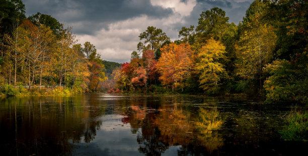秋天,湖,新泽西