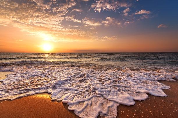 海滩,鸡尾酒,自然美