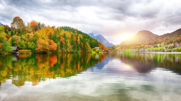 湖,格伦德尔湖,秋天