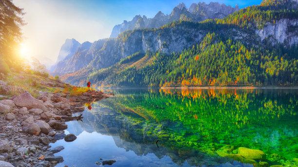 湖,达特施泰因山脉,透明