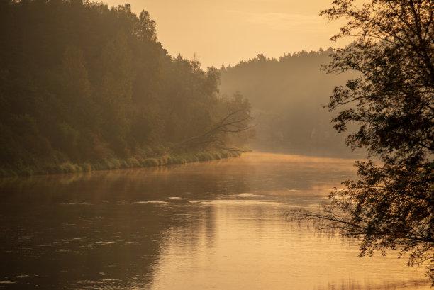 拉脱维亚,河流,色彩鲜艳