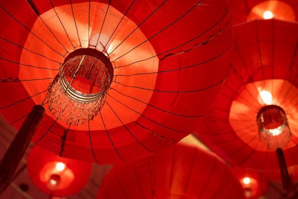 红色,悬挂的,灯笼